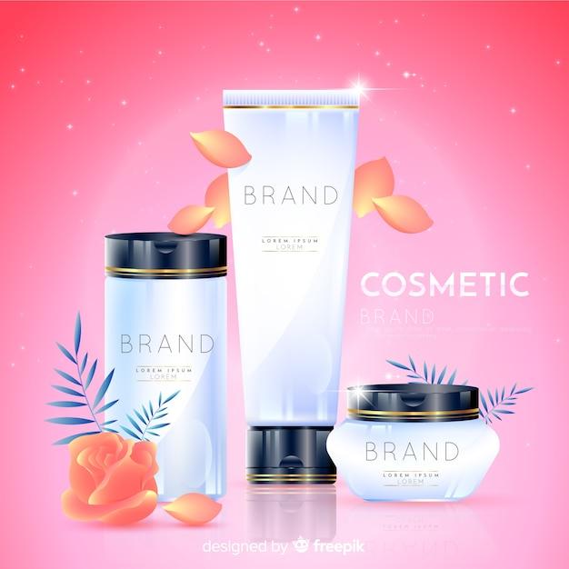 Realistischer natürlicher kosmetischer anzeigenhintergrund Kostenlosen Vektoren