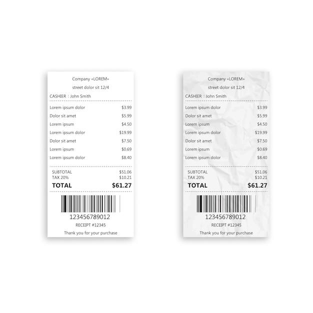 Realistischer papierwarenempfang mit barcode. Premium Vektoren