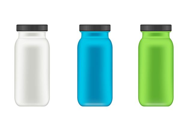 Realistischer plastikbehälter für molkenprotein und gainer. flasche. Premium Vektoren