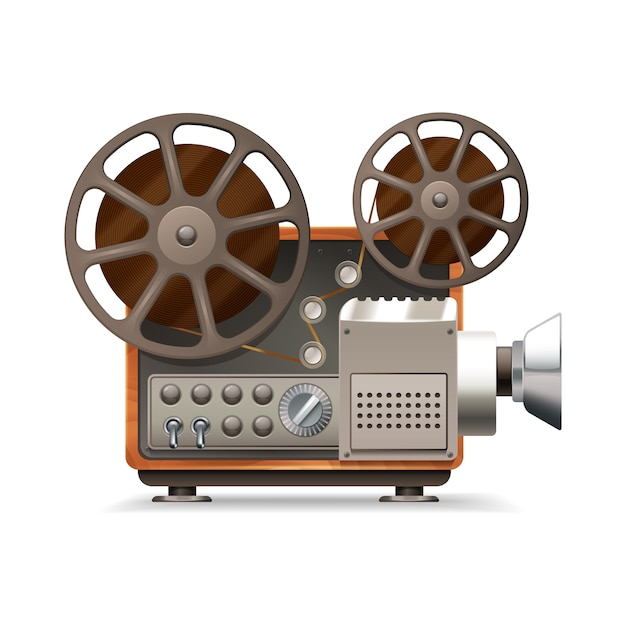 Realistischer professioneller filmprojektor Kostenlosen Vektoren
