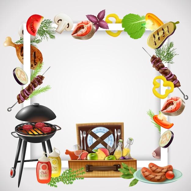 Realistischer rahmen mit grill verschiedenen grillgerichten gemüse und getränken für picknick Kostenlosen Vektoren