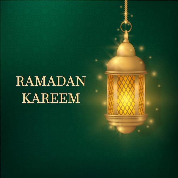 Realistischer ramadan mit laterne Kostenlosen Vektoren