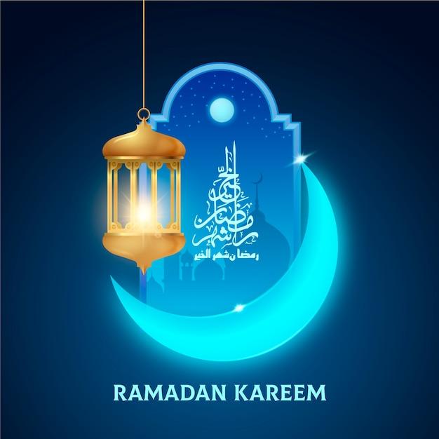 Realistischer ramadanhintergrund mit mond und kerze Kostenlosen Vektoren