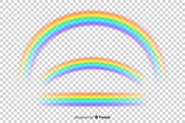 Realistischer regenbogen auf transparentem hintergrund Kostenlosen Vektoren