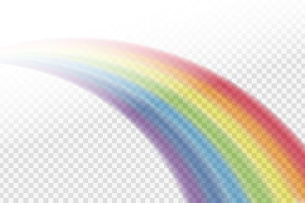 Realistischer regenbogeneffekt in verschiedenen formen auf dem transparenten hintergrund. Premium Vektoren