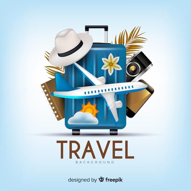 Realistischer reisehintergrund Kostenlosen Vektoren