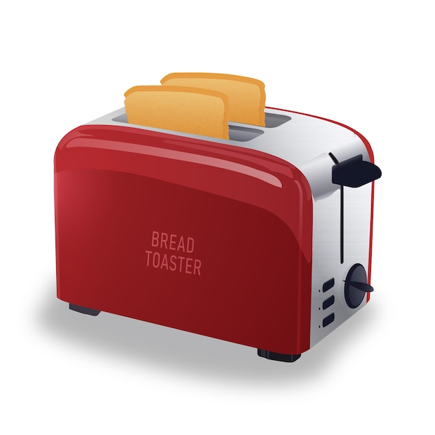 Realistischer roter metallischer toaster Premium Vektoren