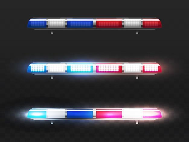 Realistischer roter und blauer geführter blinker 3d für polizeiauto. signal des gemeindedienstes mit glühlampen. Kostenlosen Vektoren