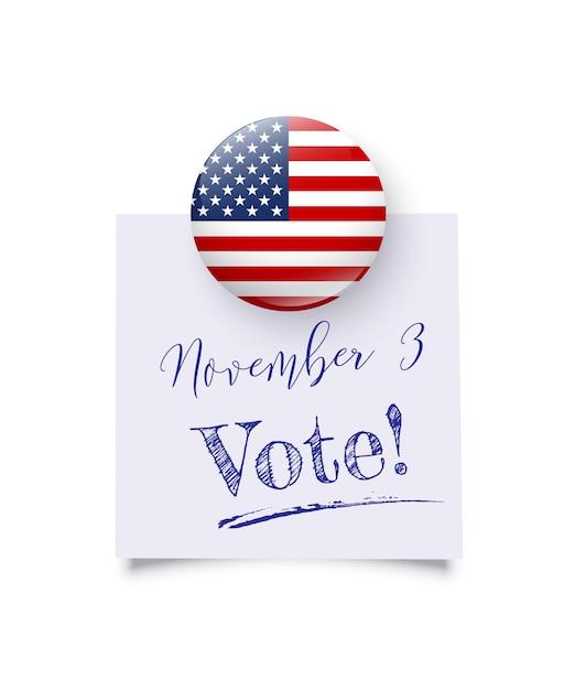 Realistischer runder magnet mit us-nationalflagge hält erinnerung mit novemberwahltagstext. Premium Vektoren