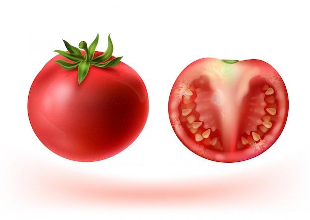 Realistischer satz 3d rote tomaten. ganzes gemüse und halb mit samen. Kostenlosen Vektoren