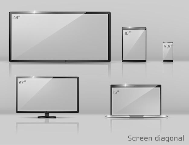 Realistischer satz 3d verschiedene bildschirme - notizbuch, smartphone oder tablette. Kostenlosen Vektoren