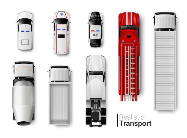 Realistischer satz der draufsicht der spezialfahrzeuge lokalisiert Kostenlosen Vektoren