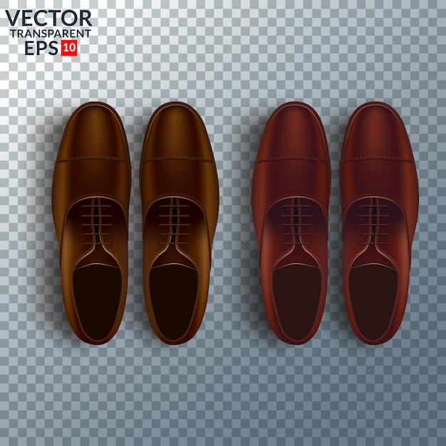 Realistischer satz der kosmetischen sorgfalt der schuhe mit den oxford-stiefeln der braunen männer lokalisiert Premium Vektoren