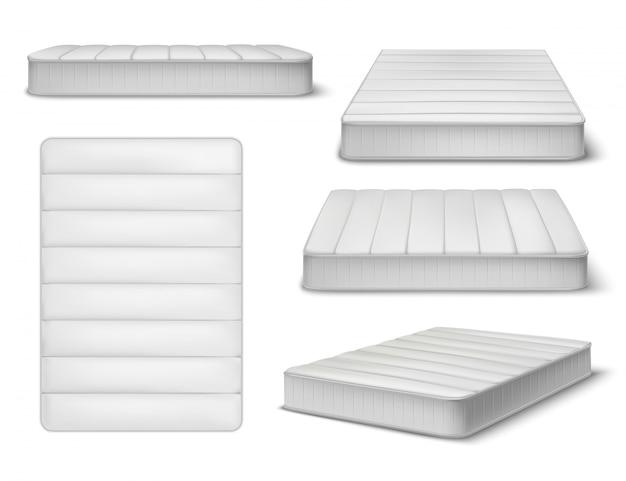 Realistischer satz der matratze von fünf lokalisierten bildern und von verschiedenen winkelsichten der schlafmatratze mit schattenillustration Kostenlosen Vektoren