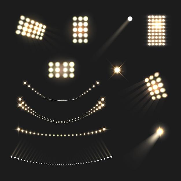 Realistischer satz der stadionsflutlichtlichter und -lampen lokalisiert Kostenlosen Vektoren