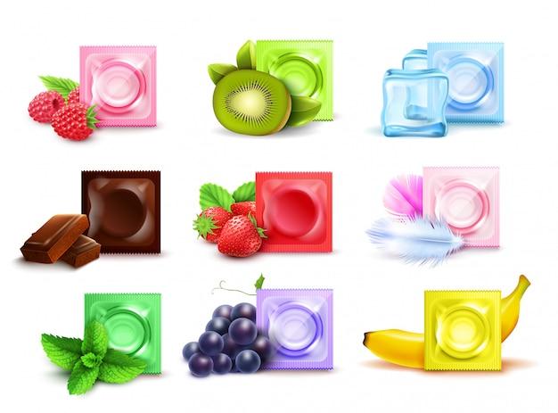 Realistischer satz duftende kondome in den bunten paketen mit der tadellosen schokolade der frischen frucht lokalisiert auf weißer hintergrundvektorillustration Kostenlosen Vektoren