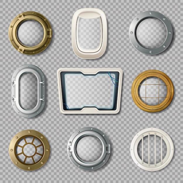 Realistischer satz metall- und plastiköffnungen der verschiedenen form auf transparentem hintergrund lokalisierte vec Kostenlosen Vektoren