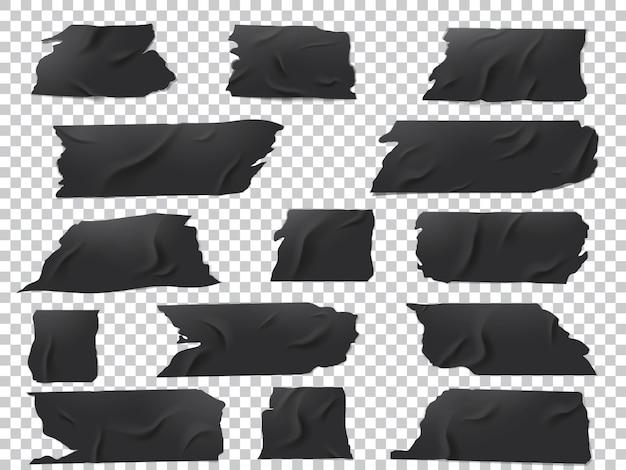Realistischer satz schwarzer klebebandstücke in verschiedenen längen und formen. Premium Vektoren