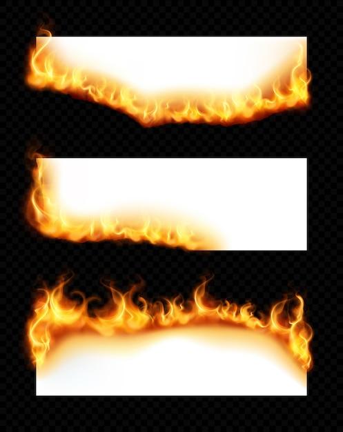 Realistischer satz von drei weißen horizontalen papierblättern mit brennenden kanten lokalisiert auf dunklem transparentem hintergrund Kostenlosen Vektoren