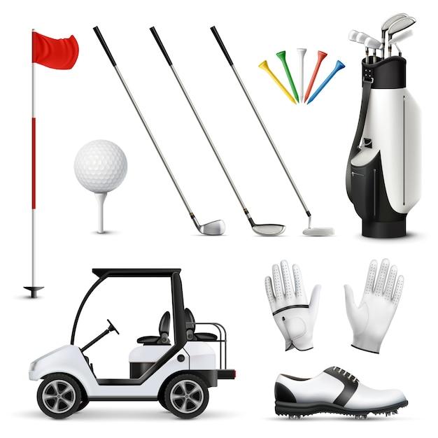 Realistischer satz von golfausrüstung und spielerkleidungsstück isolierte vektorillustration Kostenlosen Vektoren