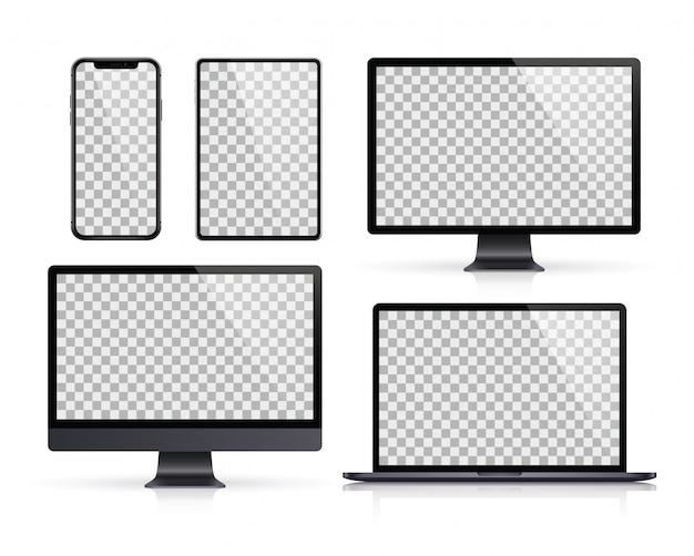 Realistischer satz von monitor, laptop, tablet, smartphone dunkelgraue farbe Premium Vektoren