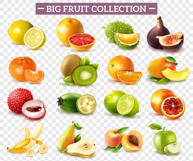Realistischer satz von verschiedenen arten von früchten mit orangen-kiwi-birnen-zitronen-limetten-apfel isoliert auf transparent Kostenlosen Vektoren