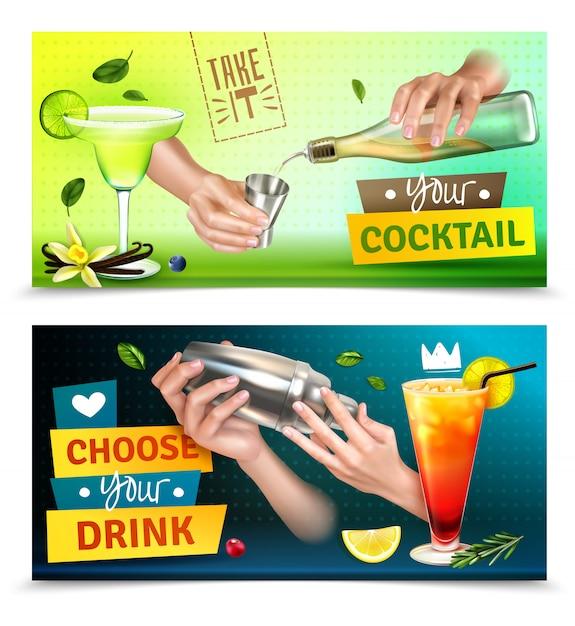 Realistischer satz von zwei bunten horizontalen bannern mit barkeeperhänden, die cocktails gemischt mischen Kostenlosen Vektoren