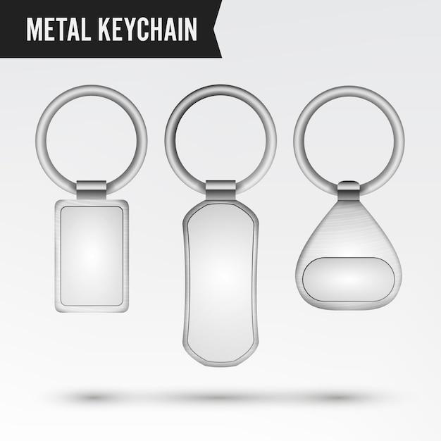 Realistischer schablonen-metallkeychain-vektorsatz. 3d schlüsselkette mit dem ring für den schlüssel getrennt auf weiß Premium Vektoren