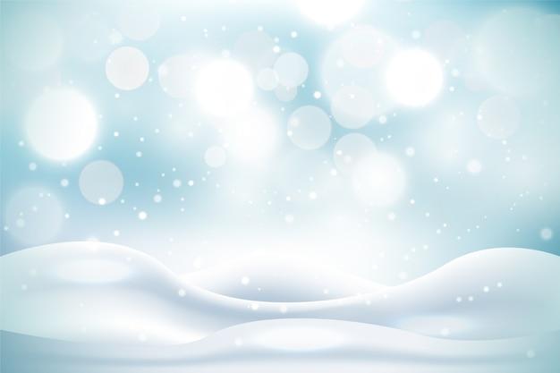 Realistischer schneefallhintergrund Premium Vektoren
