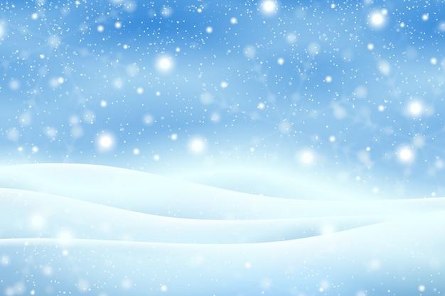 Realistischer schneefallhintergrund Kostenlosen Vektoren