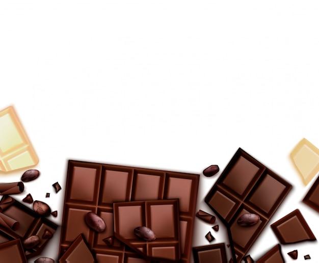 Realistischer schokoladenhintergrund mit bildrahmen mit schokoriegeln und leerem hintergrund mit leerem raum Kostenlosen Vektoren