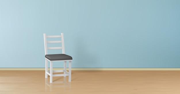 Realistischer spott 3d oben mit dem weißen holzstuhl getrennt auf blauer wand Kostenlosen Vektoren