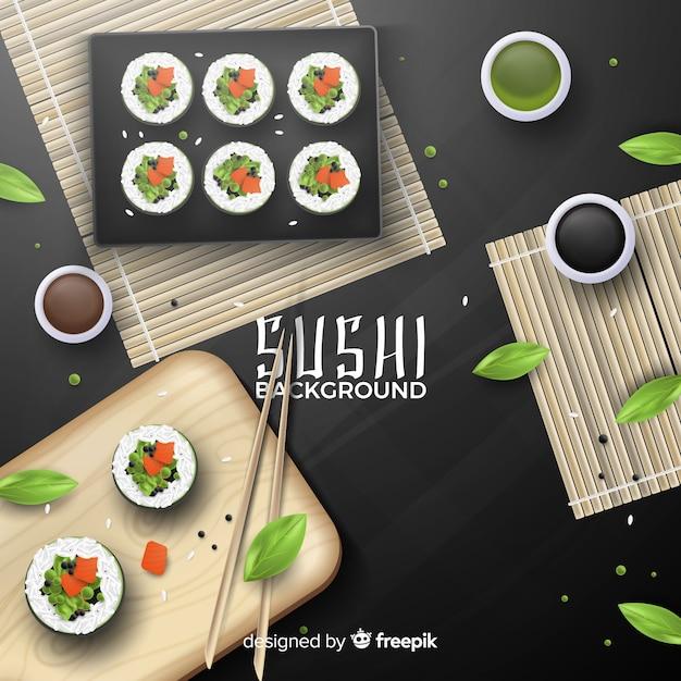 Realistischer sushi-hintergrund Kostenlosen Vektoren