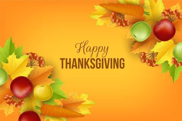 Realistischer thanksgiving-hintergrund Kostenlosen Vektoren