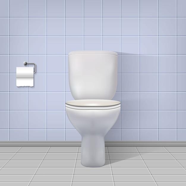 Realistischer toiletteninnenraumhintergrund. Premium Vektoren