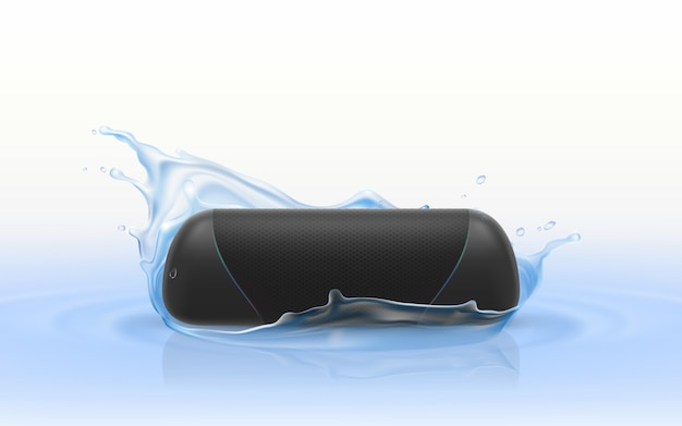 Realistischer tragbarer lautsprecher 3d im blauen wasser. wasserdichtes drahtloses sound-gerät Kostenlosen Vektoren