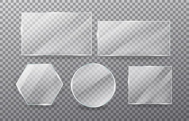 Realistischer transparenter glasfenstersatz Premium Vektoren