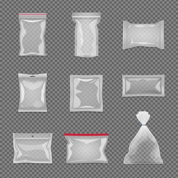 Realistischer transparenter paketsatz in der unterschiedlichen form lokalisiert Kostenlosen Vektoren