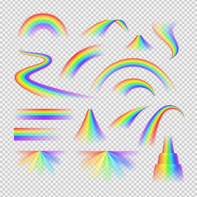 Realistischer transparenter satz des hellen regenbogenspektrums lokalisiert Kostenlosen Vektoren