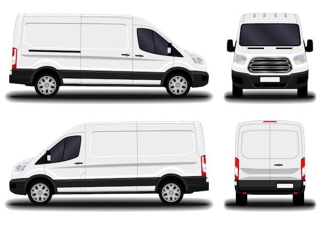 Realistischer transporter. vorderansicht; seitenansicht; rückansicht. Premium Vektoren
