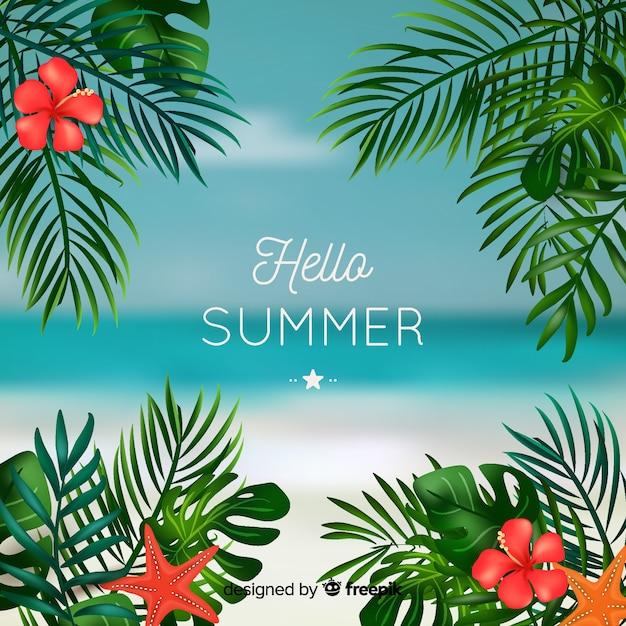 Realistischer tropischer hallo sommerhintergrund Kostenlosen Vektoren