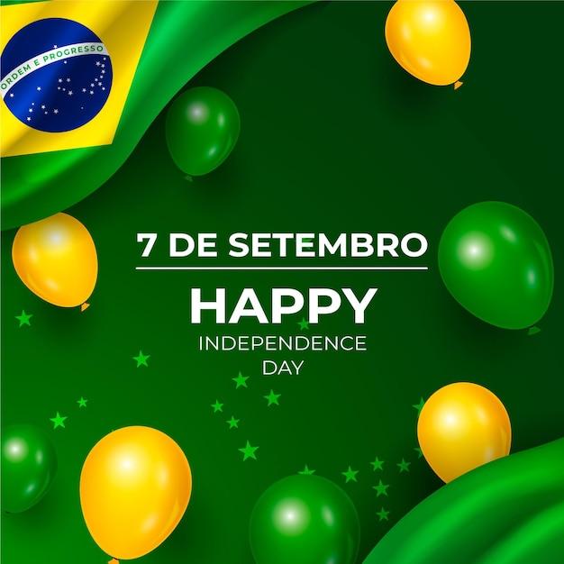 Realistischer unabhängigkeitstag von brasilien hintergrund mit luftballons Kostenlosen Vektoren