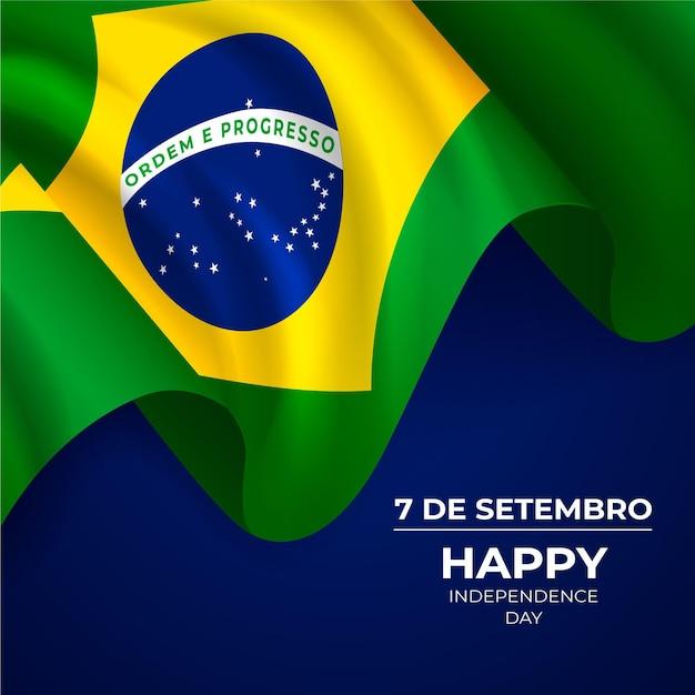 Realistischer unabhängigkeitstag von brasilien Kostenlosen Vektoren
