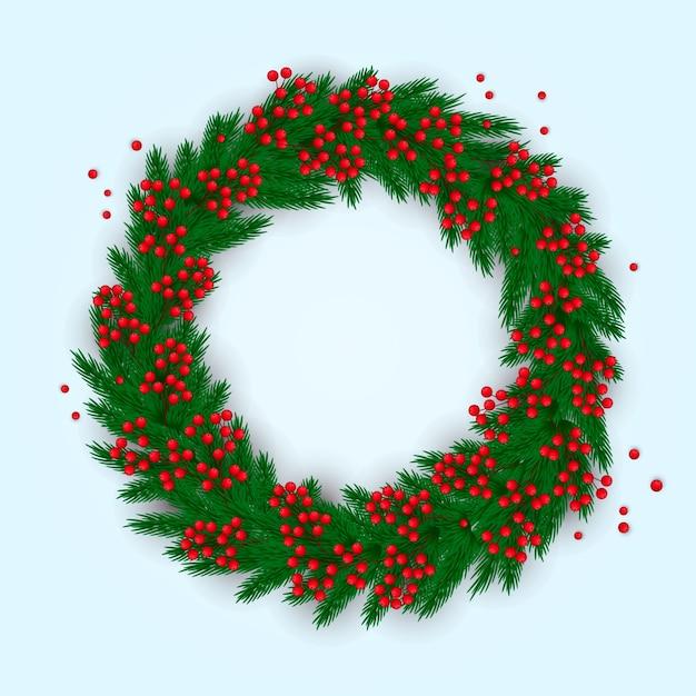 Realistischer und bunter weihnachtskranz Kostenlosen Vektoren
