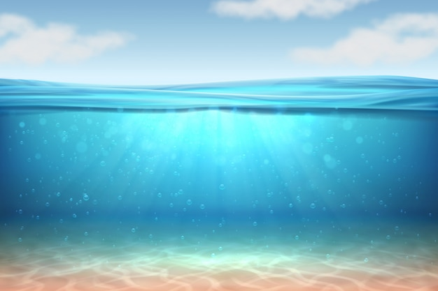 Realistischer unterwasserhintergrund. tiefes wasser des ozeans, meer unter wasserspiegel, sonne strahlt blauen wellenhorizont aus. Premium Vektoren