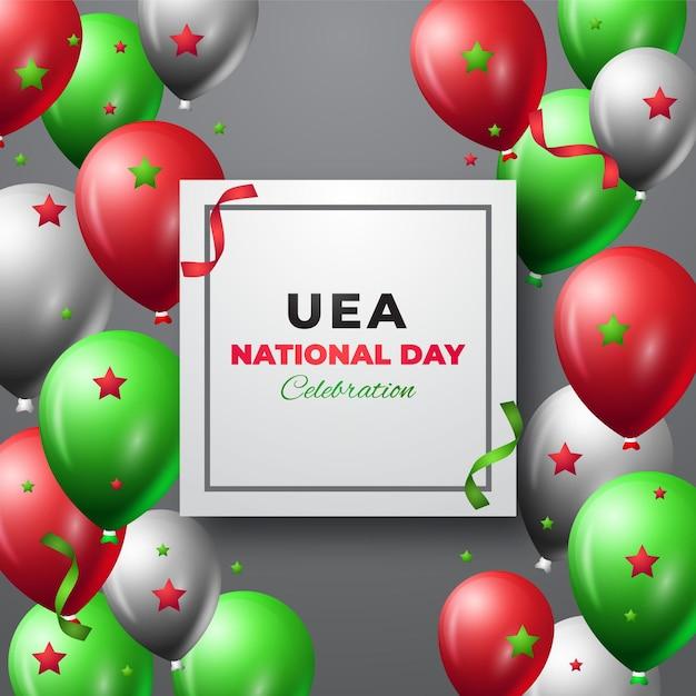 Realistischer vae-nationalfeiertag mit luftballons Premium Vektoren