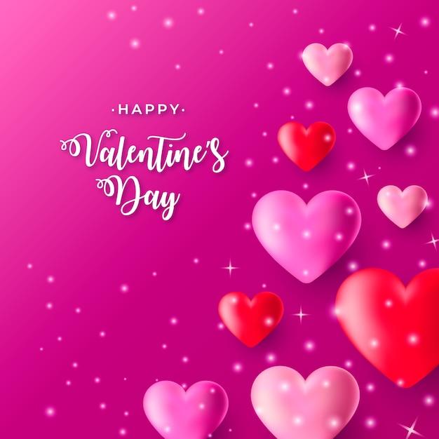 Realistischer valentinstaghintergrund mit rosa und rotherzen Kostenlosen Vektoren