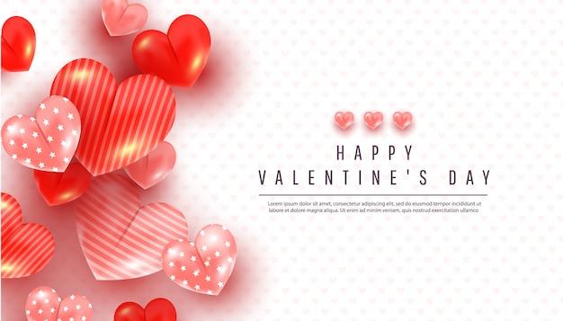 Realistischer valentinstaghintergrund mit weichem rosa und rotem dekor des herzens 3d auf einem weiß Premium Vektoren