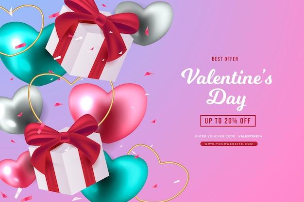 Realistischer valentinstagsverkaufshintergrund Premium Vektoren