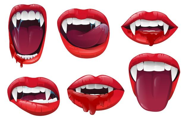 Realistischer vampirmund mit blutigem speichel Premium Vektoren